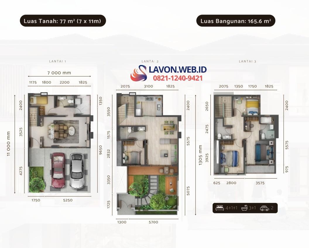 Daisan Swan City Tipe Courtyard Layout 7x11